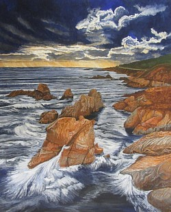 """Pacific Coast"" (Big Sur) 20""x30"" Acrylic on bedsheet Original work SOLD $600"
