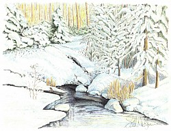 """Mountain Spring"" 8.5""x11"" Colored pencil on cardstock"