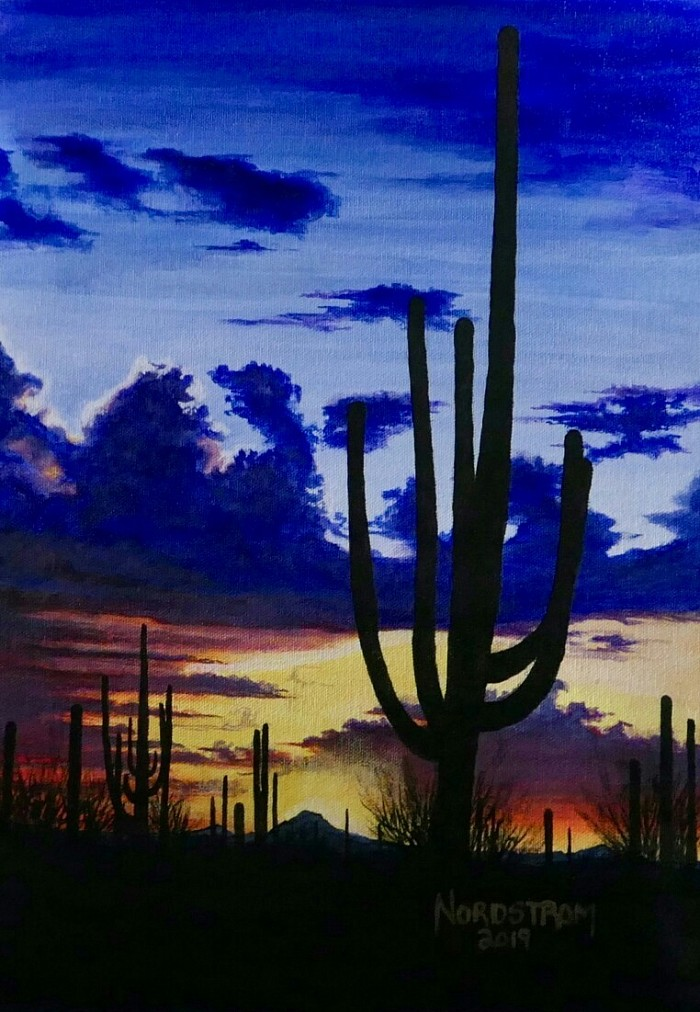 """Arizona Sunset"" 12""x12"" Acrylic on canvas"