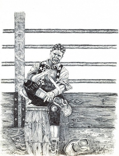 """Rodeo Clown"" 8.5""x11"" Pen and pencil on cardstock"